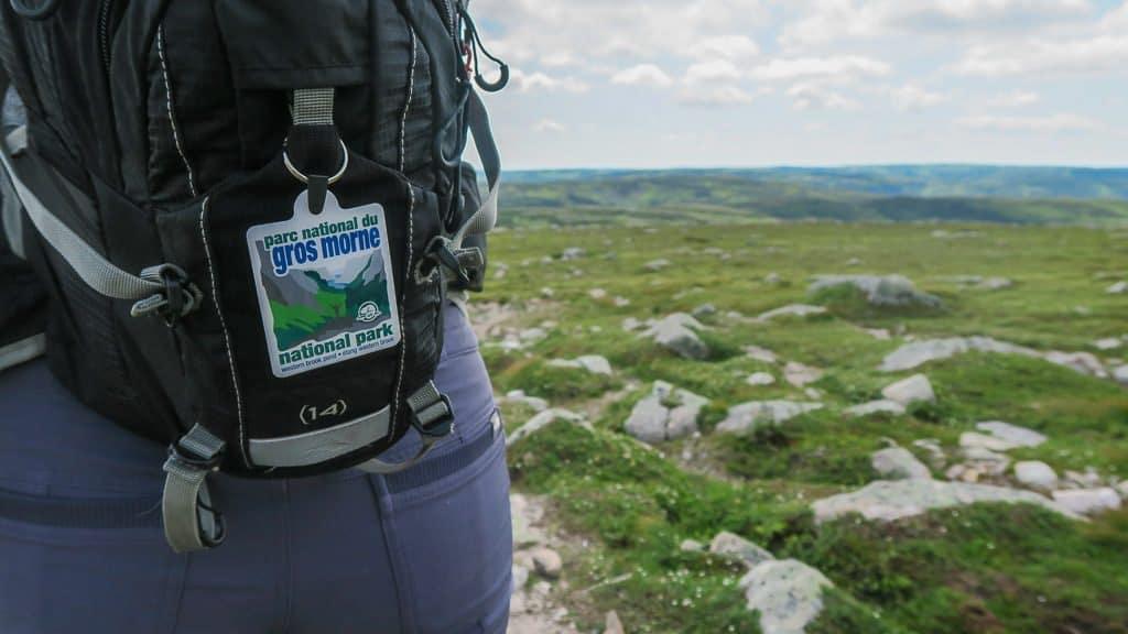 Gros Morne National Park badge attached to Brooke's Camel Bag