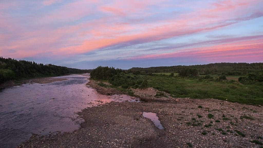 Sunset on Robinson's River near Pirate's Haven in Newfoundland