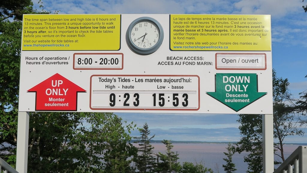 Sign at Hopewell Rocks that displays the high and low tide each day