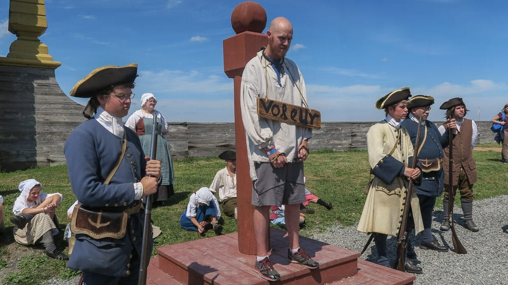 Buddy locked up at the Iron Collar in the center of town at the Fortress of Louisbourg