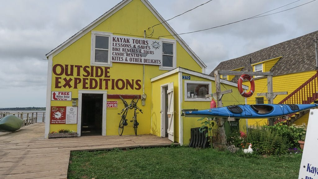 The bright yellow building for Outside Expeditions who offer many water adventures on Prince Edward Island