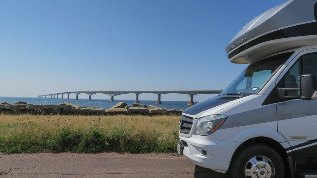 Our Winnebago View in front of the PEI's 8-Mile Bridge