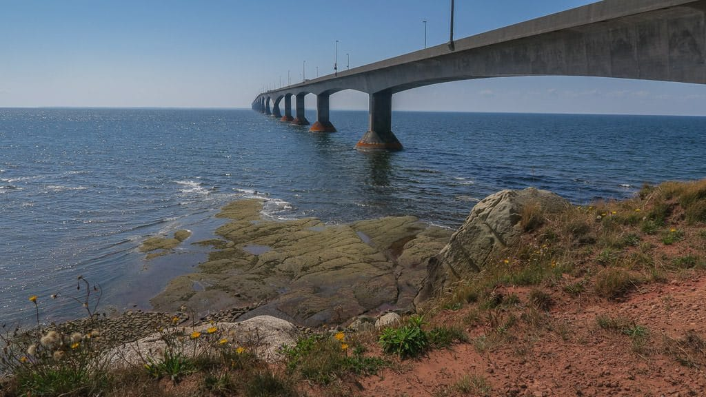Looking out into the water and the confederation bridge from Marine Rail Park