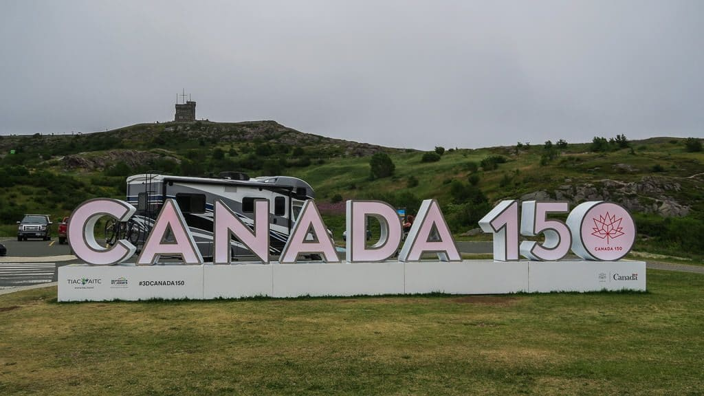 Our RV parked behind the Canada 150 display at Signal Hill National Historic Site