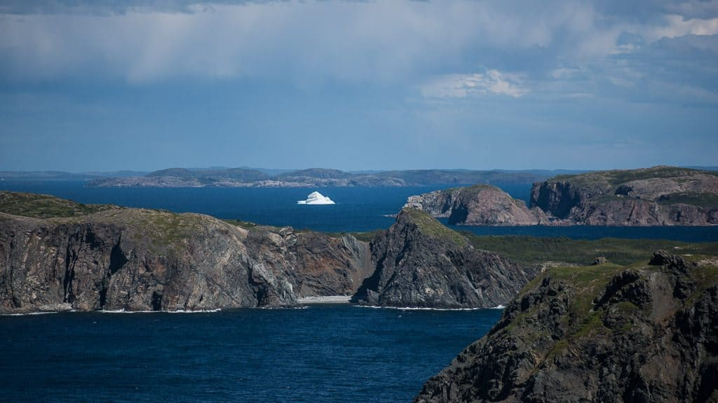 Iceberg off in the distance from a viewing point in Twillingate