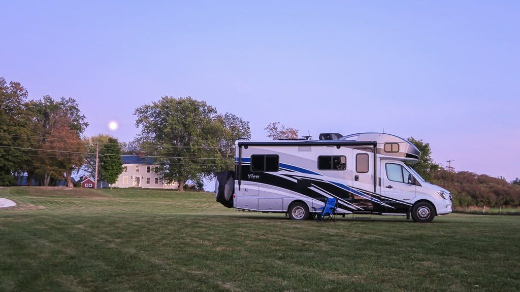 Our RV parked at a beautiful boondocking spot in Vermont at a farm using our Harvest Hosts membership