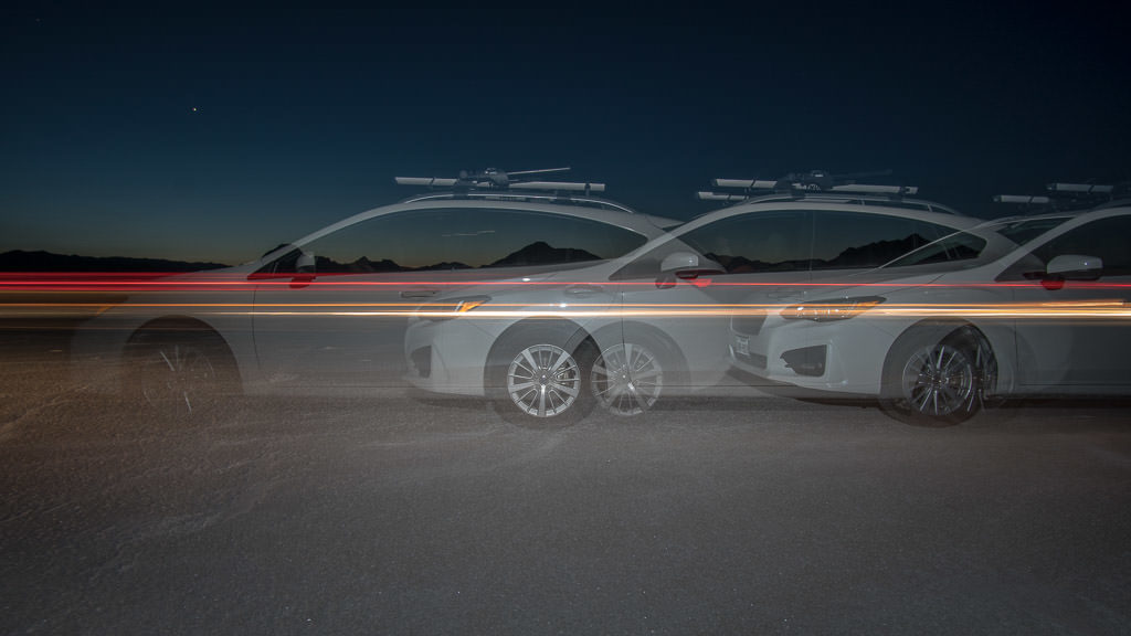 Having fun with multi-shot photography at night with the car on the bonneville salt flats