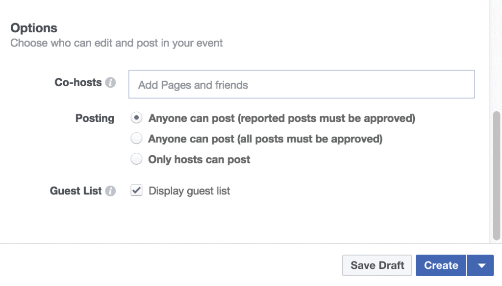 facebook event hosts and admin