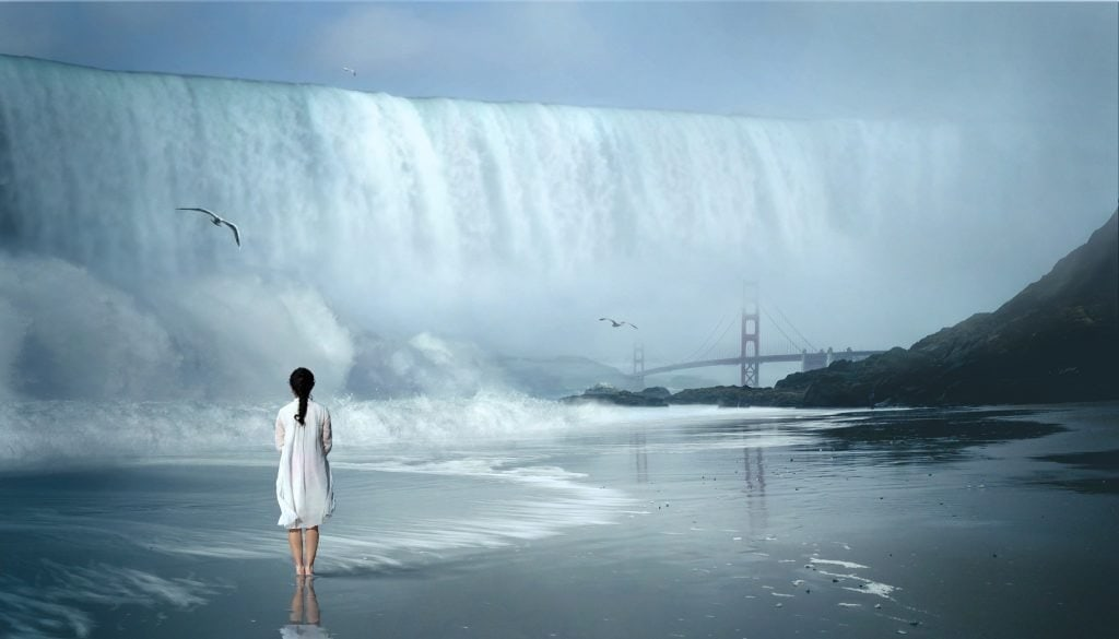 solo woman in white dress looks at montage of waterfalls