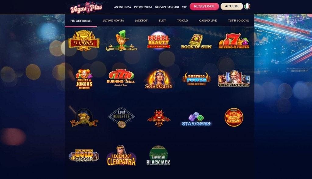 Lista giochi VegasPlus