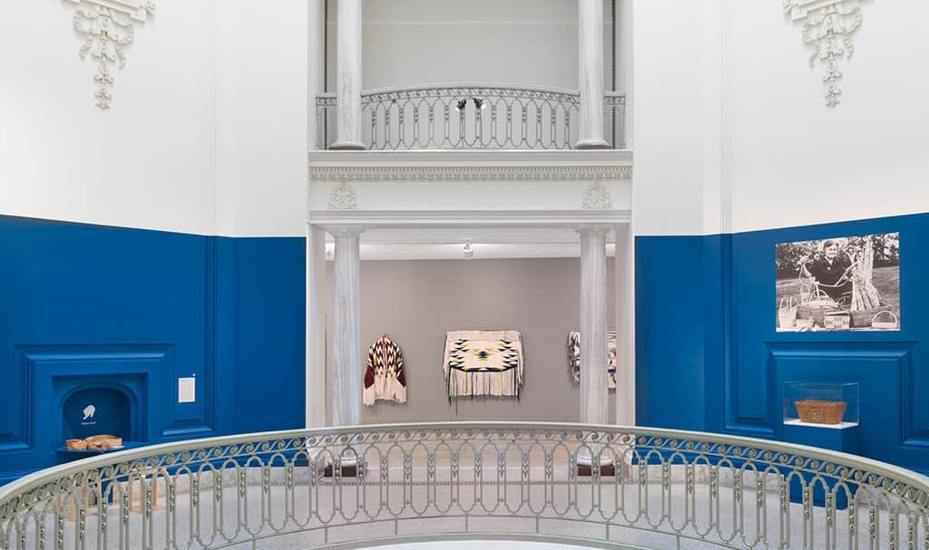 Installation view of Debra Sparrow's work in Transits and Returns, exhibition at the Vancouver Art Gallery, September 28, 2019 to February 23, 2020