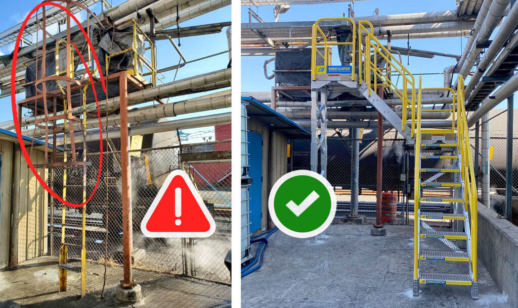 Industrial stair for non-compliant fixed ladder
