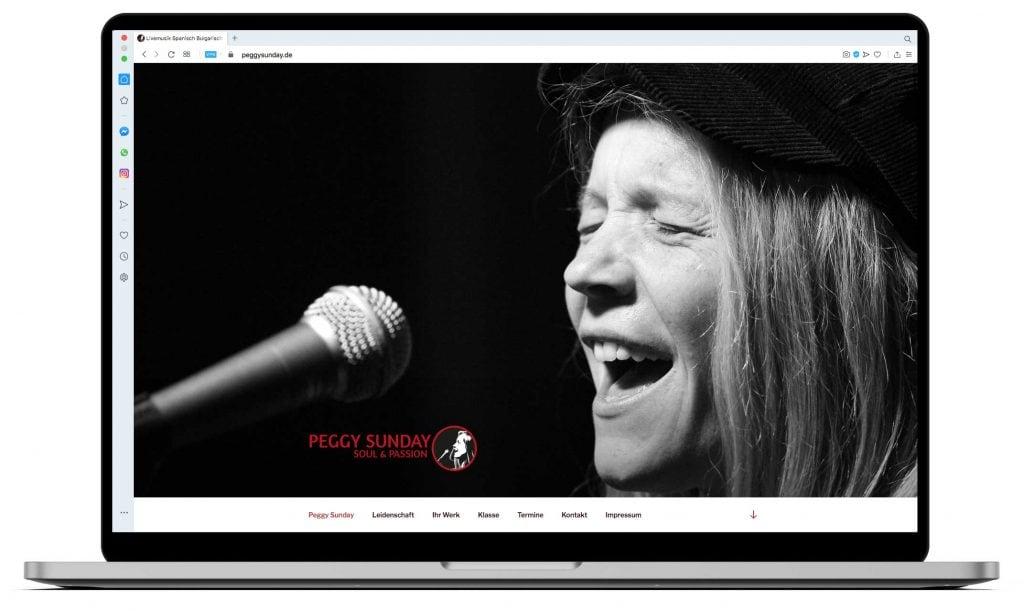 Peggy Sunday Website Desktopansicht