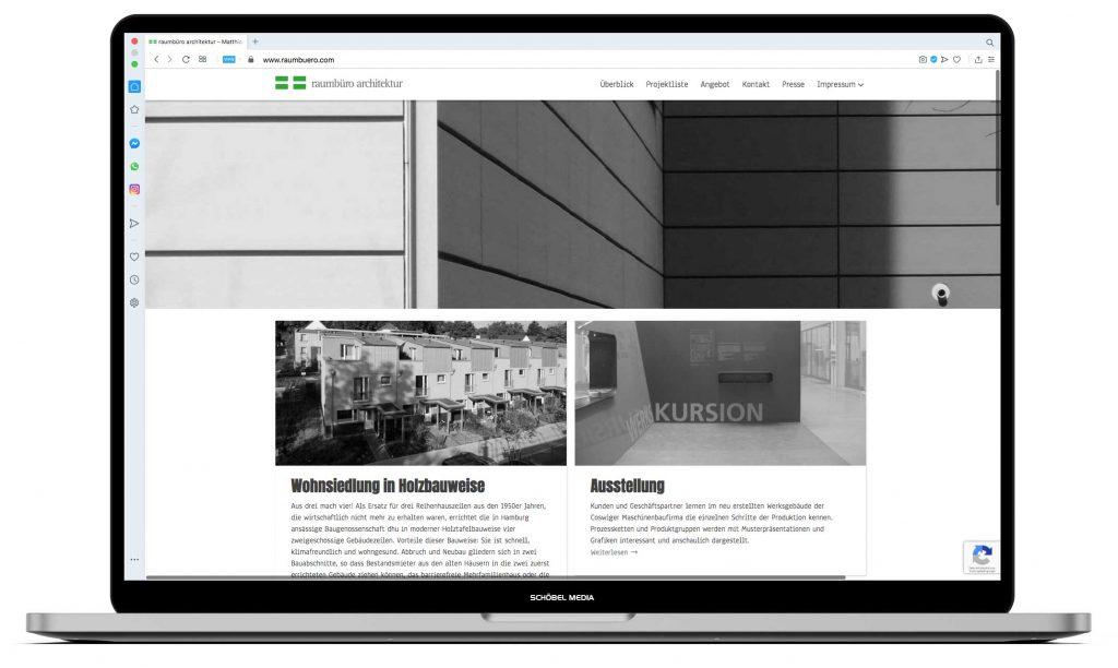 Raumbüro Architektur Website Desktopansicht