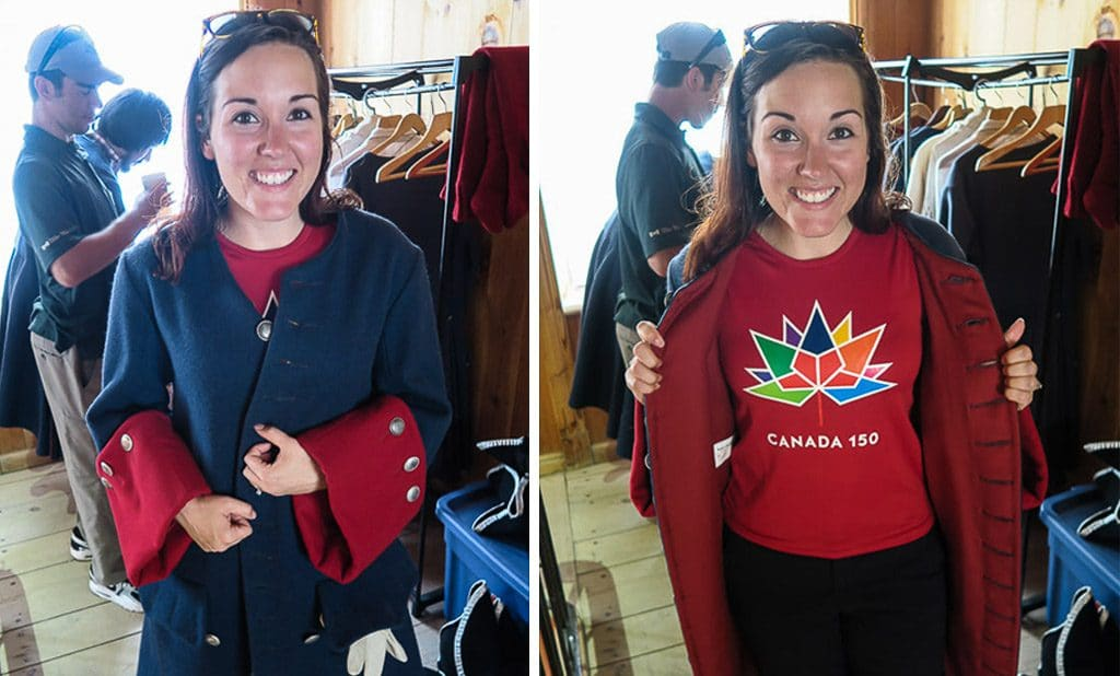 Brooke wearing her Canada 150 shirt and getting dressed in the proper attire to fire a cannon