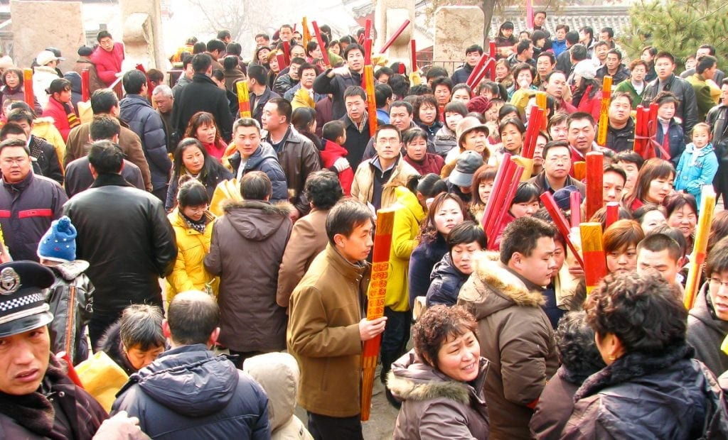 Crowds of Chinese people climbing Taishan for New Year's Day