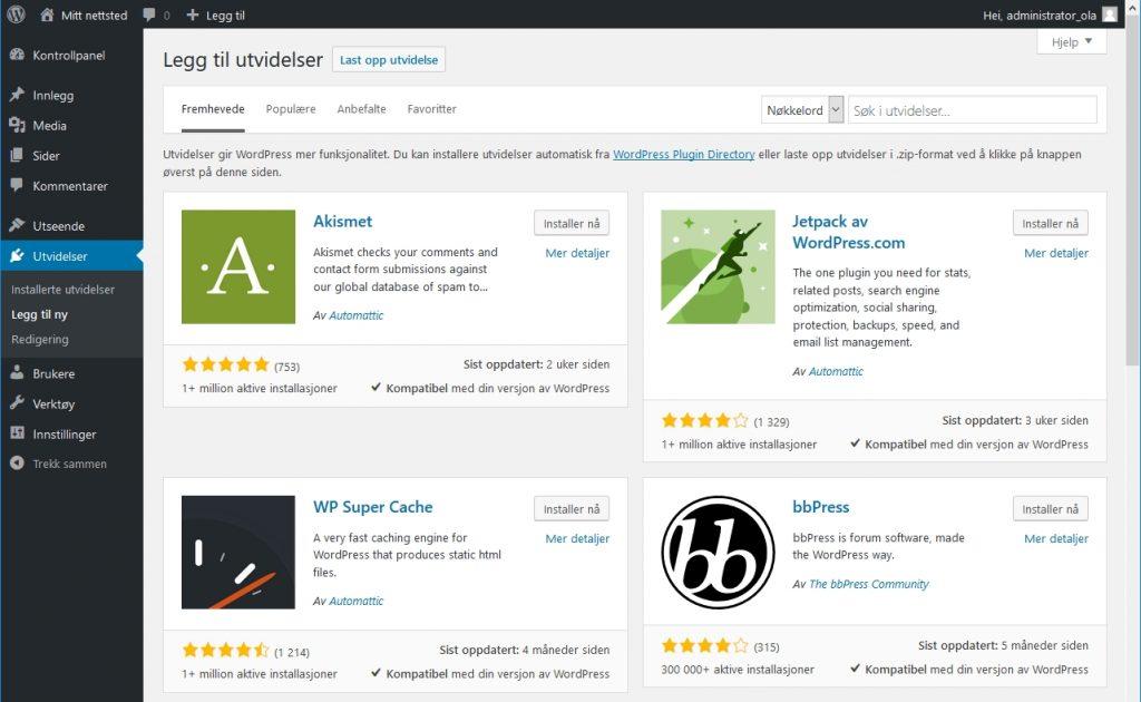 Wordpress - Installer utvidelser skjermbilde