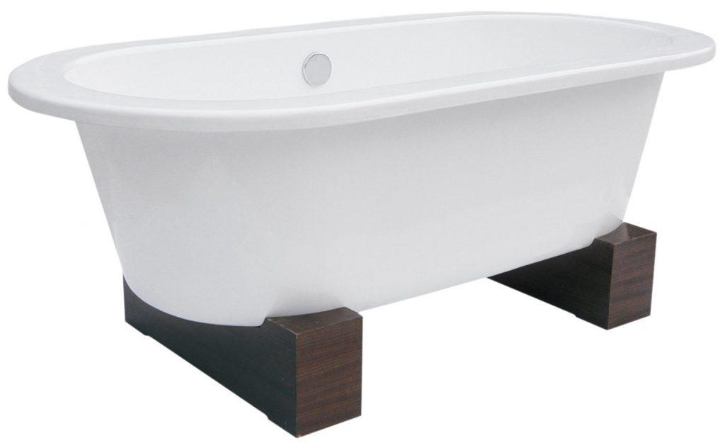Belle Foret BFUSACWBWAL Contemporary Leg Tub Cast Iron, WhiteWalnut