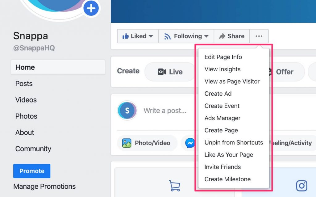 facebook page manager layout