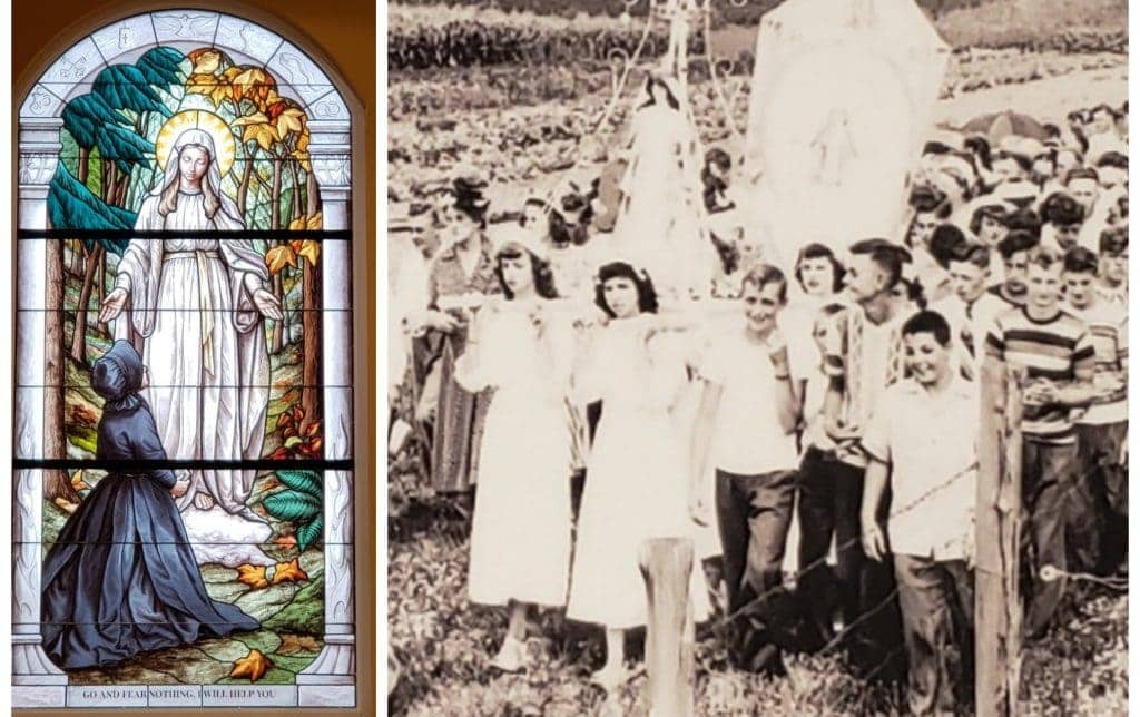 two images: one of stained glass and the other a historic photo showing a pilgrimage with young girls carrying the image of the Virgin Mary outdoors