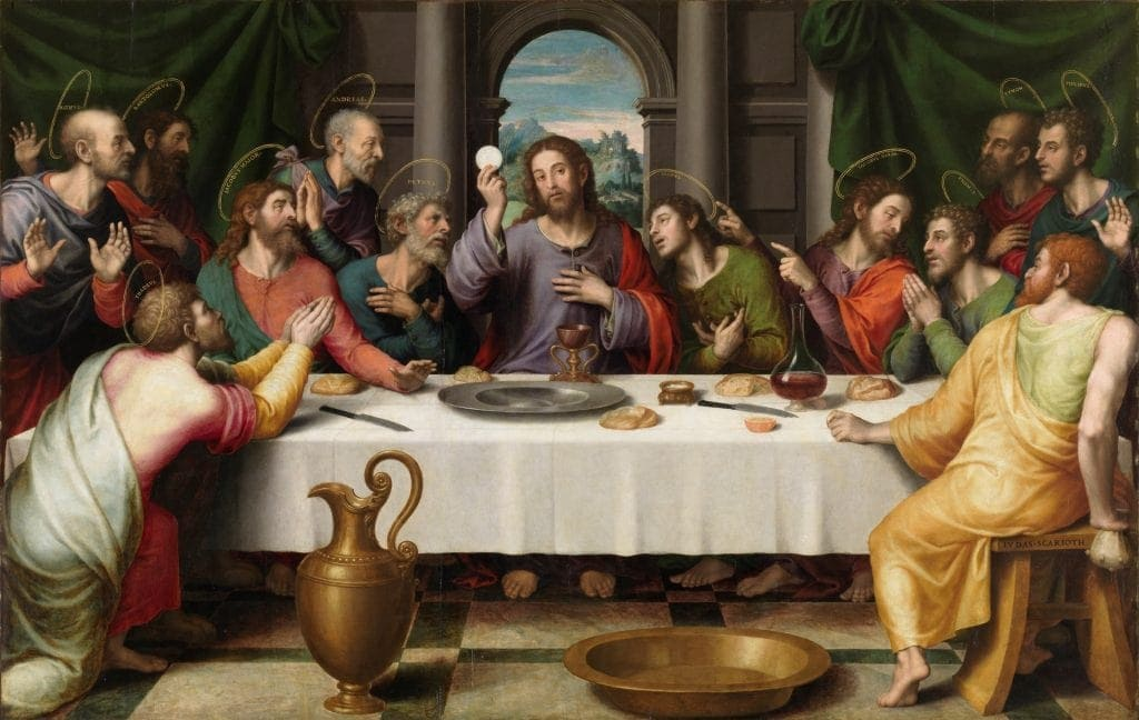 Painting of Last Supper with Jesus in the center again. Colors are warmer, people seem more real in this 'The Last Supper painting'