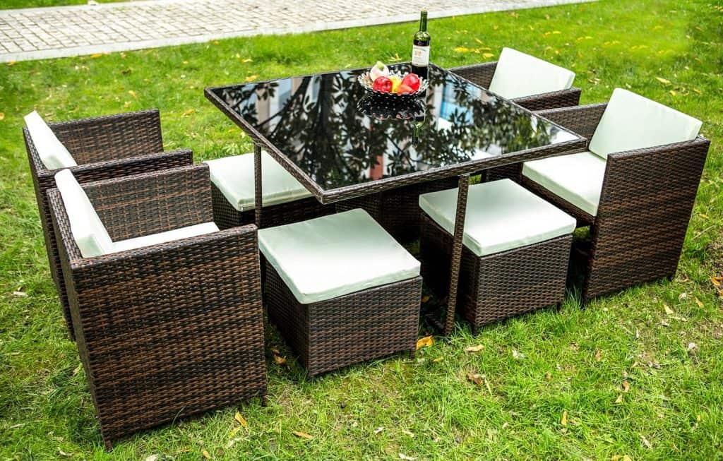 Merax 9 PCS Rattan Cube Garden Furniture Set Dining Set