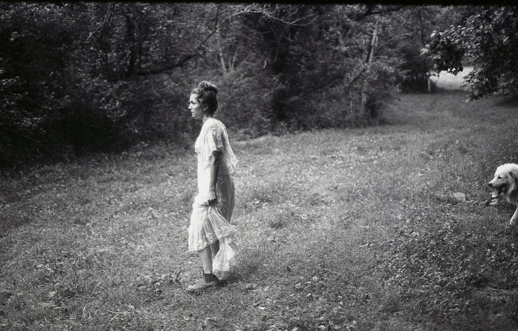 black and white 35mm film flower farming bride in the woods