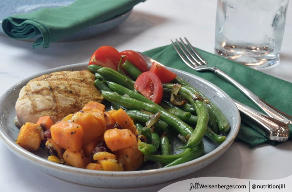The Plate Method with chicken, butternut squash and string beans
