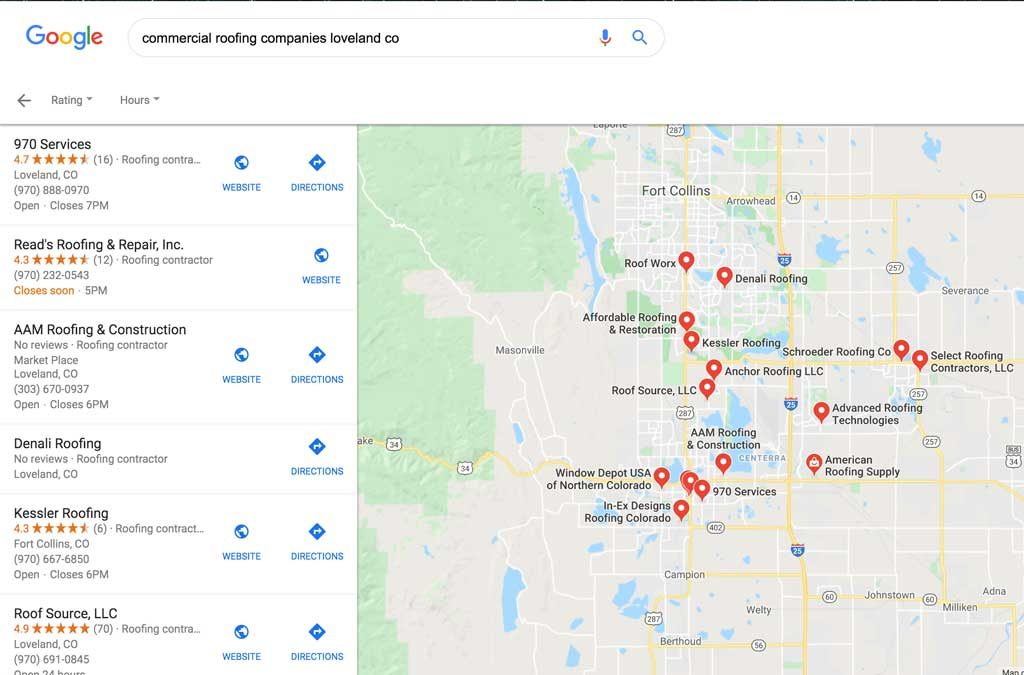 commercial roofing companies loveland co Google maps search