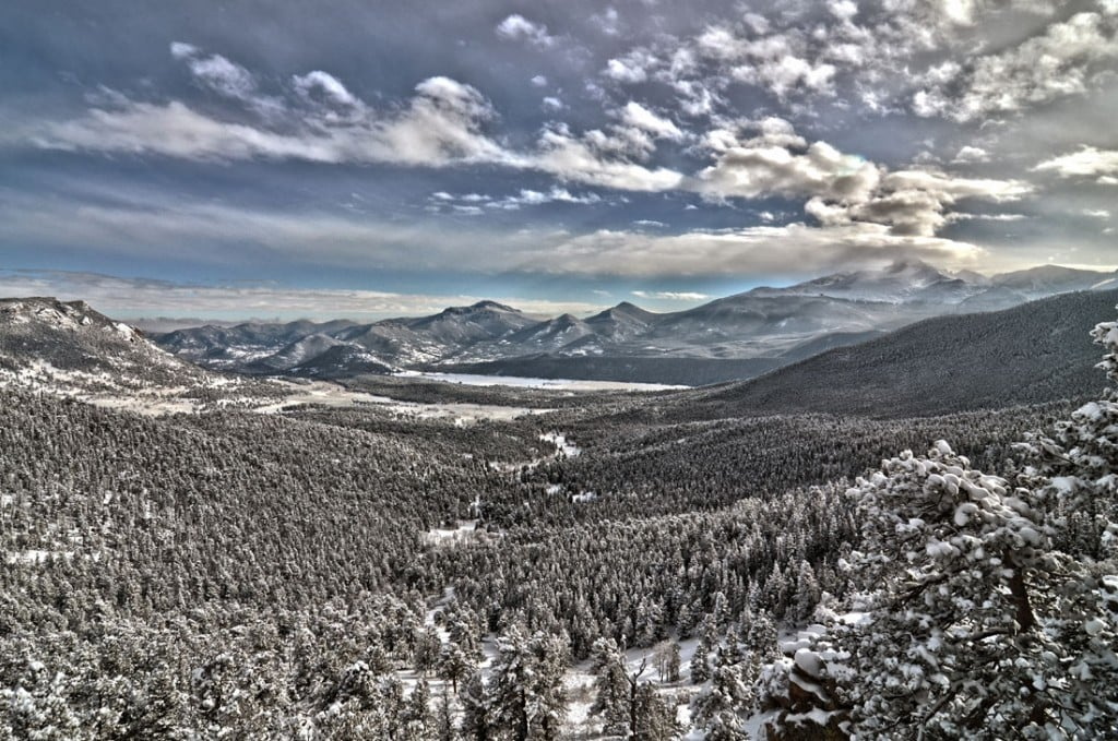 Surviving snow in the snowy mountains of Rocky Mountains National Park