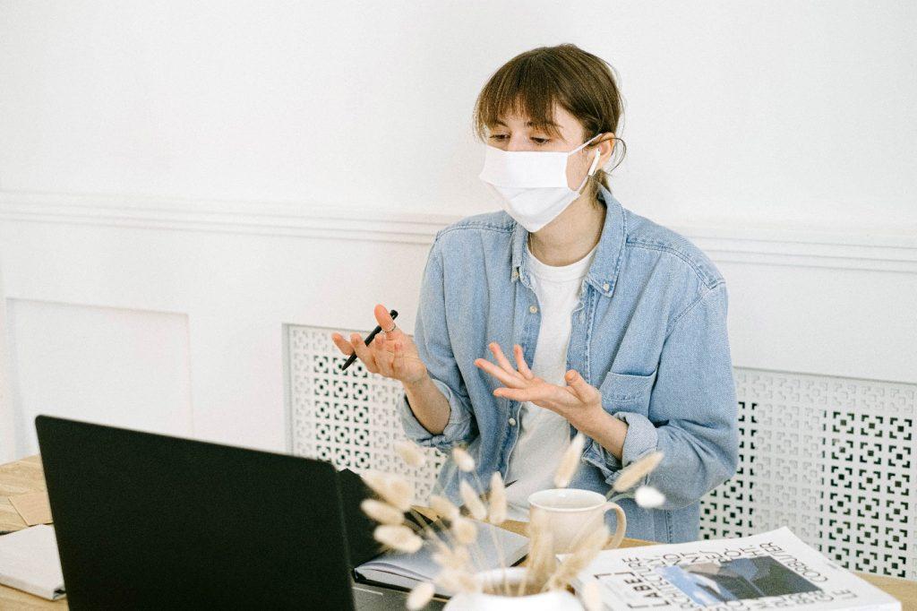 Quarantined Woman Working