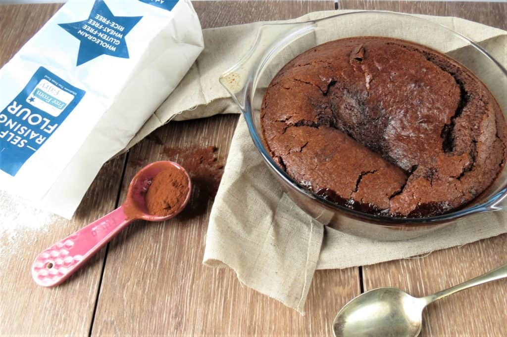 Chocolate Self Saucing Pudding; gluten free and easily made dairy free and vegan too