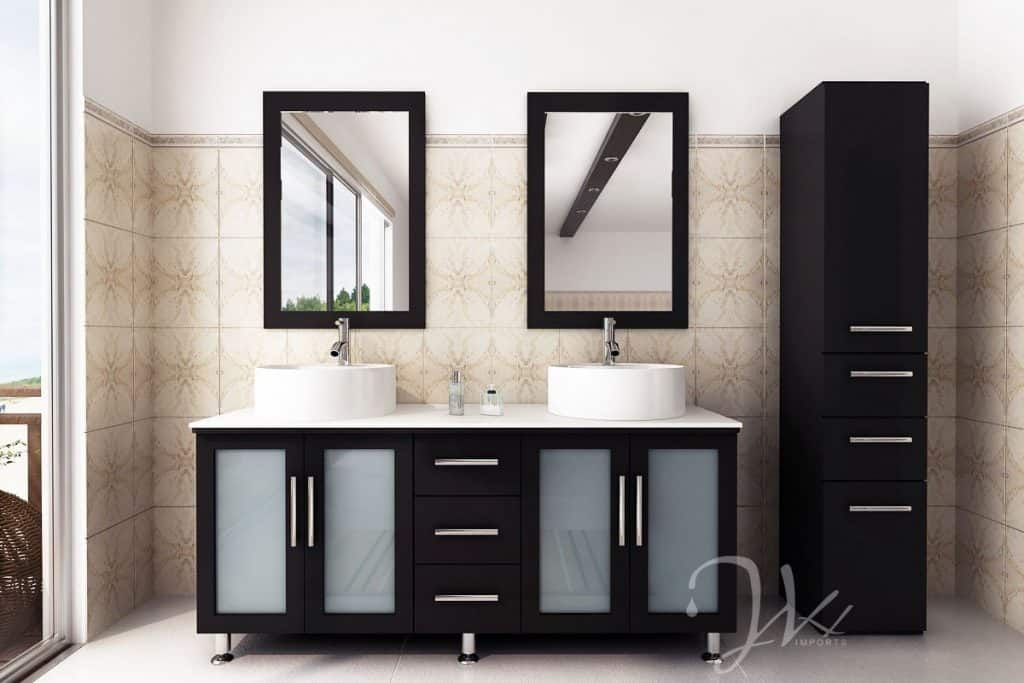 Vanity Contemporary Bathroom Cabinets 59 inch Double Lune Large Vessel Sink Modern Contemporary Bathroom Vanity  with Phoenix Stone Top