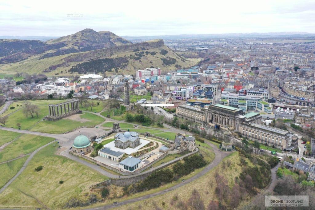 Drone photography Edinburgh - Calton Hill and Arthurs seat. Drone Photography Edinburgh