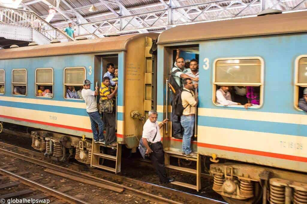 People on Kandy to Galle train