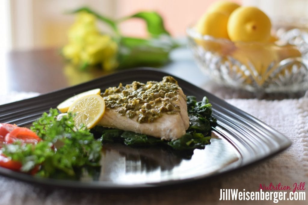 heart healthy fish with lemon mustard and capers