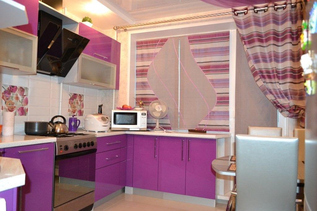 кухня фиолетовая современная
