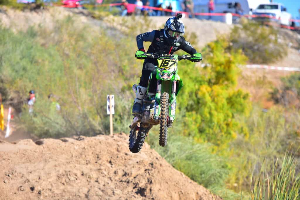 Zach Bell riding his PC Kawasaki KX450 at the 2019 Havasu NGPC