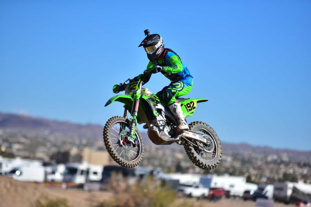 JP Alvarez riding his PC Kawasaki KX250 at the 2019 Havasu NGPC