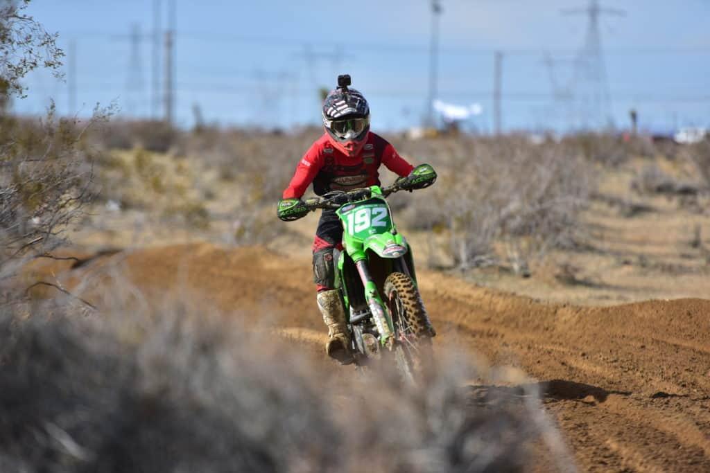 JP Alvarez riding his KX250 at the 2020 Adelanto NGPC