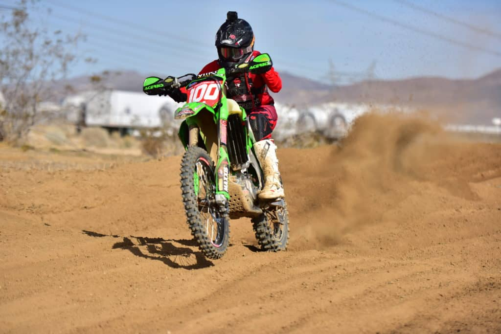 Zach Bell riding his KX450 at the 2020 Adelanto NGPC
