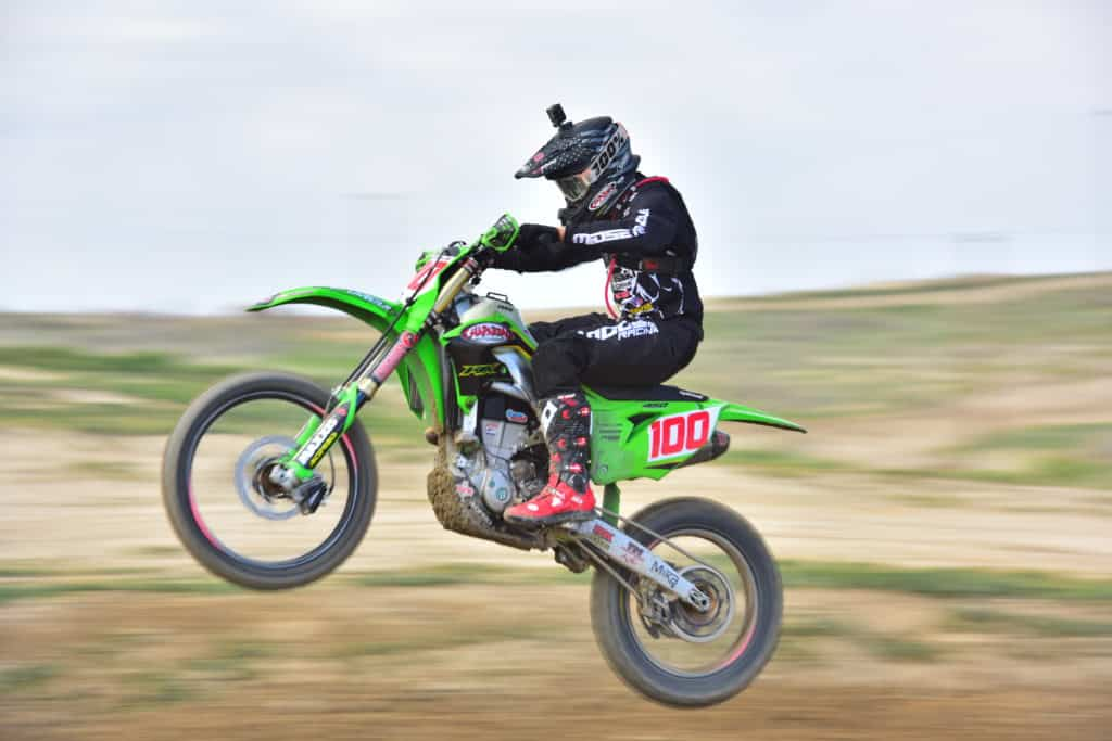 Zach Bell riding his KX450 at the 2020 taft NGPC