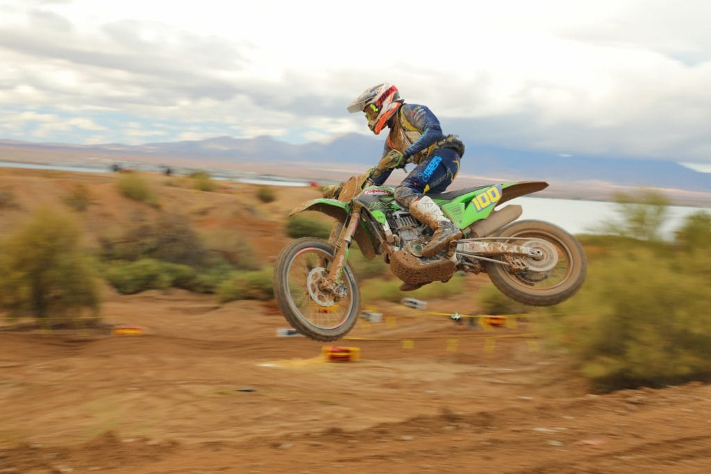 zach bell riding his kx450x at the 2021 havasu worcs race