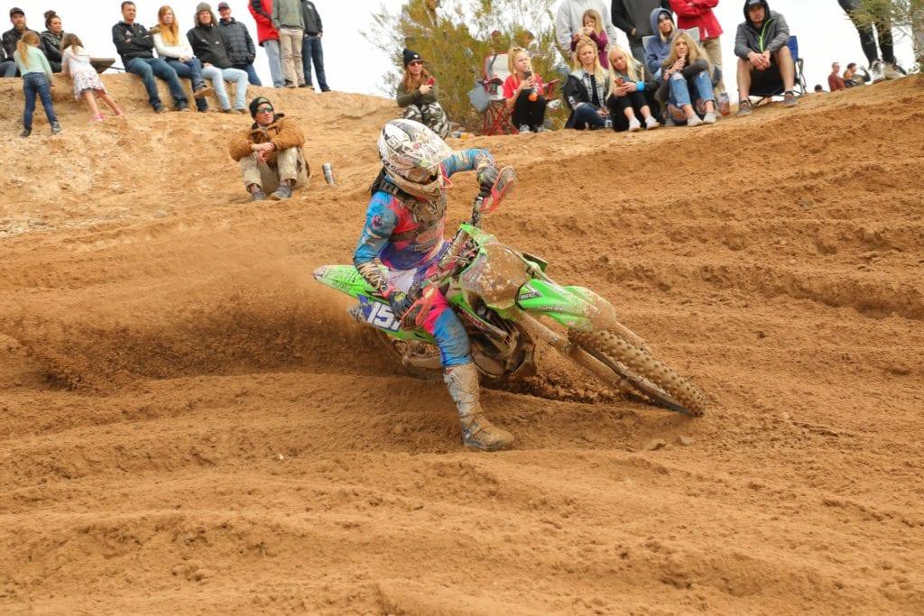 clay hengeveld riding his kx250x at the 2021 havasu worcs race
