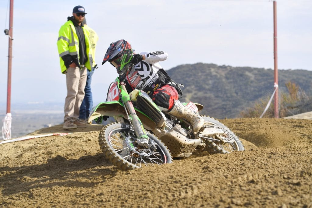 zach bell riding his kx450x at the 2021 glen helen ngpc