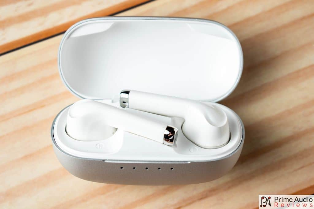 Earbuds inside charging case
