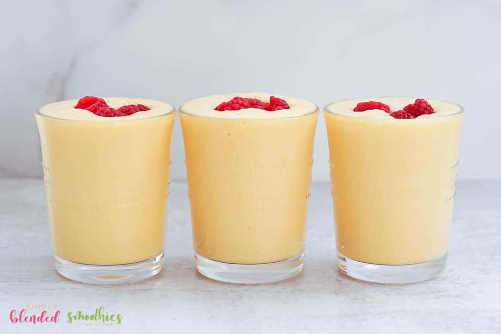 smoothie made with bananas and peaches