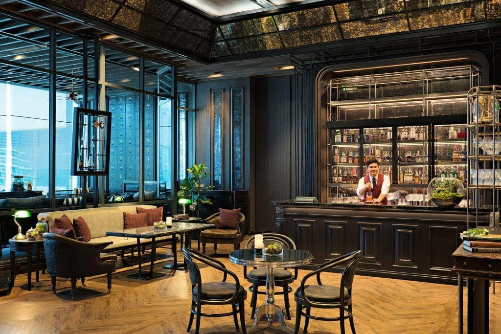 Interior of ABar with bartender at Bangkok Marriott