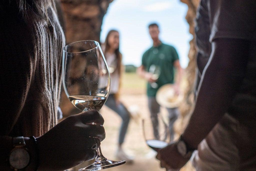 Imatge de tast de vins en una visita d'enoturisme a Cellers Avgvstvs Forvm