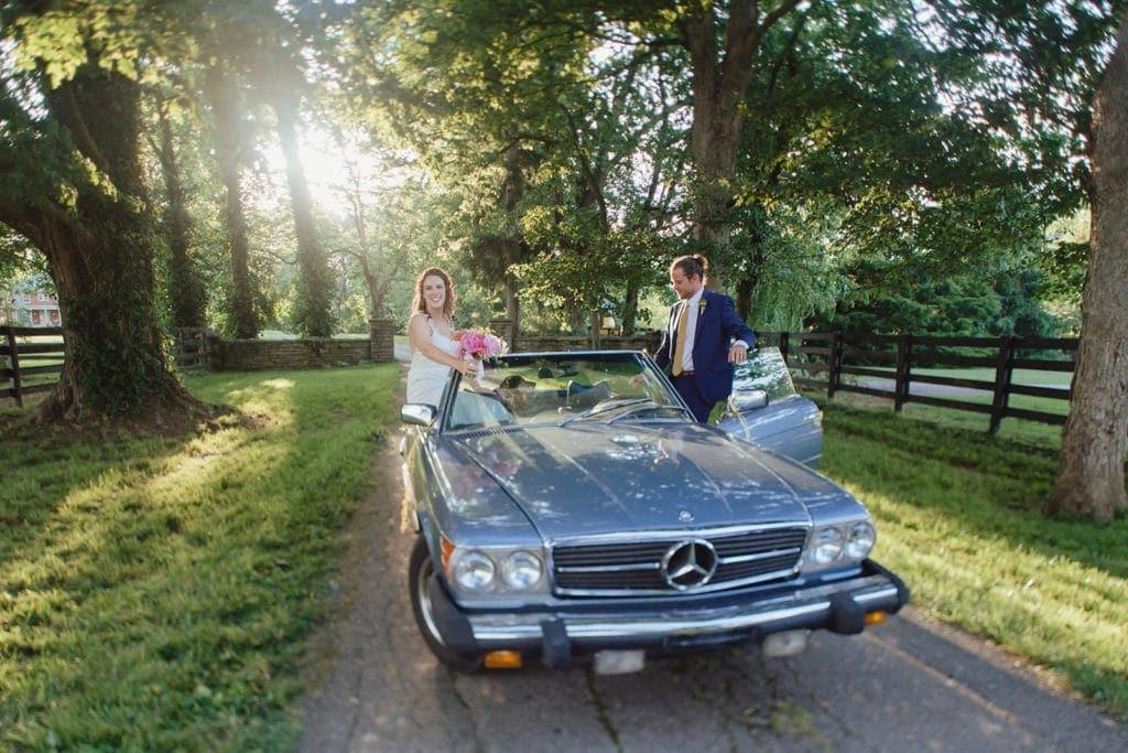 classic car wedding portrait